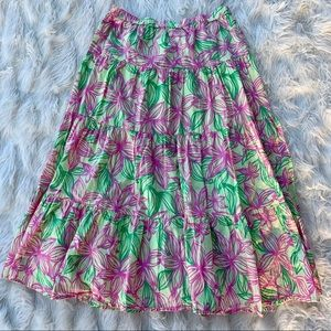 Vintage Lilly Pulitzer Floral Maxi Skirt, Size Sm